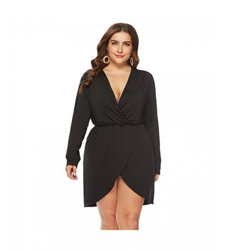 Plunge Neck Long Sleeve Solid Color High-low Plus Size Women Dress