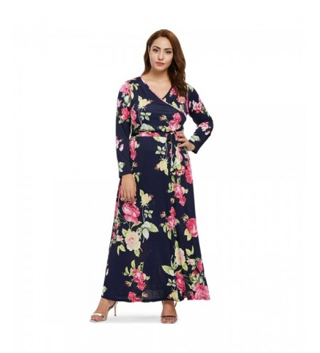 Plus Size Floral Pattern Maxi Dress