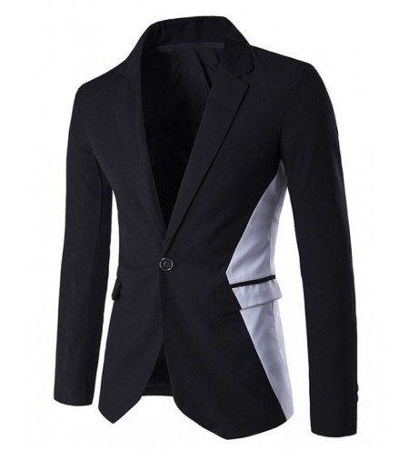Contrast Color Notch Lapel One-Button Blazer