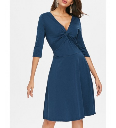 V Neck Front Knot Dress