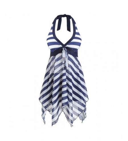 Bowknot Striped Halter Tankini and Boyshort