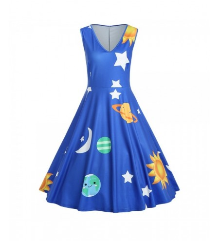 Plus Size Planet Print Vintage Dress