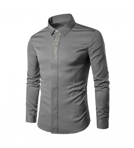 Men Causal Turn Down Collar Slim Floral Placket Long Sleeve Shirt Male Top