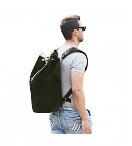 Drawstring Canvas Bucket Gym Bag Portable Backpack for Men