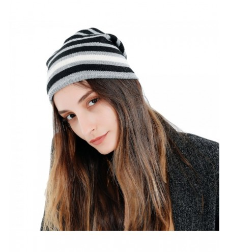 Striped Pattern Knitted Slouchy Beanie