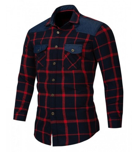Color Spliced Plaid Pattern Long Sleeve Shirt