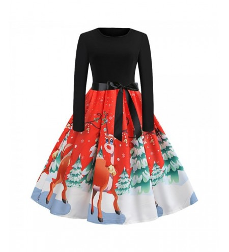 Round Collar Long Sleeve Christmas Elk Print Belted A-line Women Dress