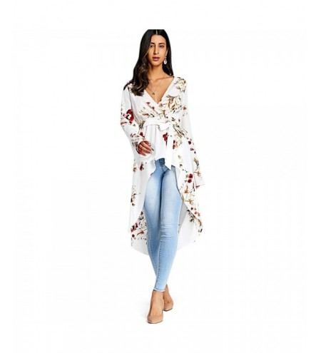 Plunge Neck Bell Sleeve Floral Print Belted Asymmetric High-low Women Long Shirt