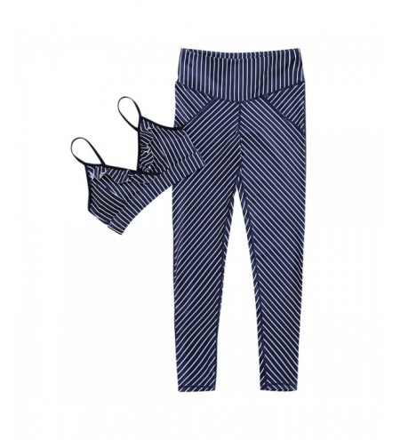 Spaghetti Strap Padded Backless Ruffle Stripe Print High Waist Elastic Pants Women Yoga Suit