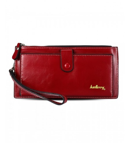 Baellerry Lady Elegant Pure Color Multicard Bit Wrist Wallet Clutch Card Holder Phone Pocket