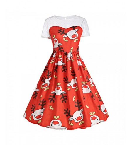 Mesh Panel Cute Christmas Reindeer Party Dress