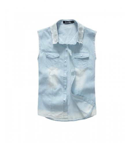 Men's Waistcoat Cozy Solid Color Sleeveless Denim Coat