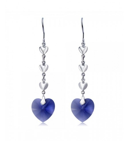 Silver Plated Heart-Shaped Blue Crystal Earrings
