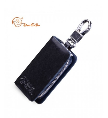 Douguyan YSB002 Compact Leather Car Key Wallet with Zipper Closure