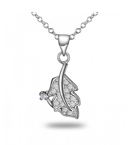 Leaf Enchase Diamond 925 Silver Necklace Pendant Plated