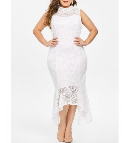 Plus Size Mock Neck Ruffle Hem Lace Dress