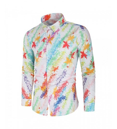 Casual Maple Leaves Painting Print Shirt