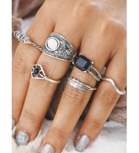 Alloy Feather Geometric Gypsy Finger Ring Set