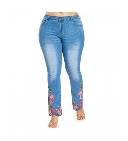 Plus Size Five Pocket Embroidery Jeans