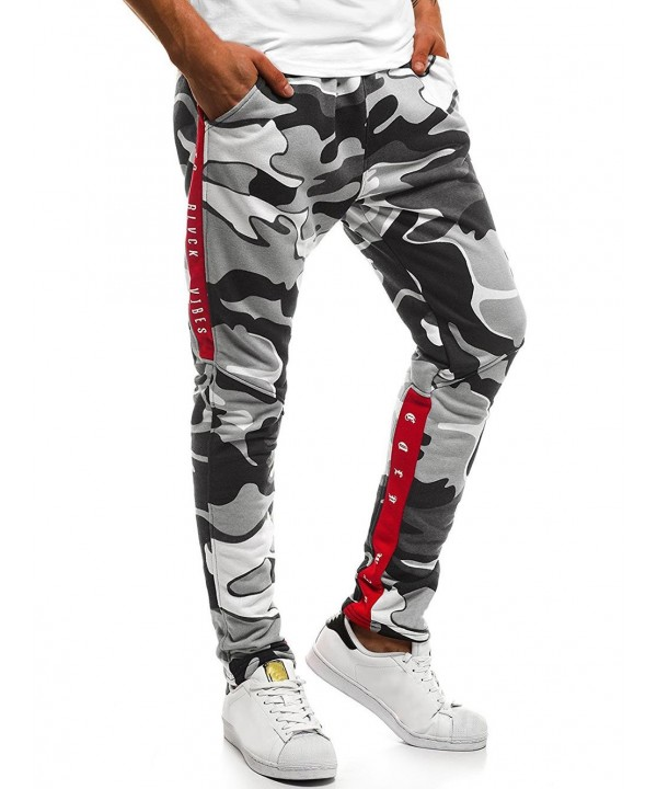 Letter Print Drawstring Waist Camouflage Jogger Pants
