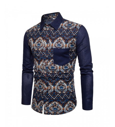 Men's Print Slim Fashion Party Collar Floral Long Sleeve T-shirt