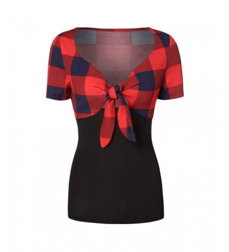 Women Checked Plaid Tied Strap T-shirt