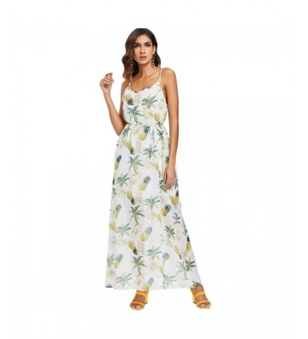Chiffon Pineapple Print Women Maxi Dress