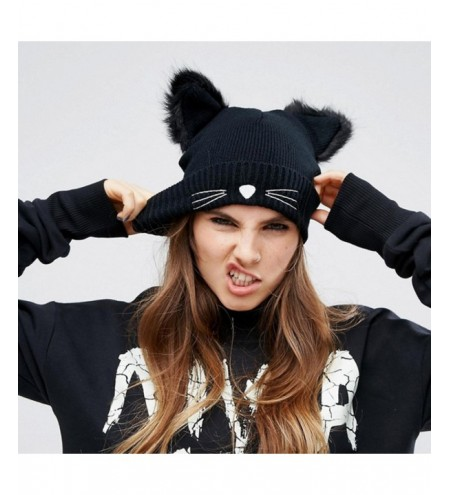 New Woman Cat Ears with Imitate Fur with Embroidery Winter Sweater Hat