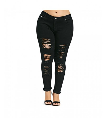 Plus Size Five Pockets Distressed Tight Jeans