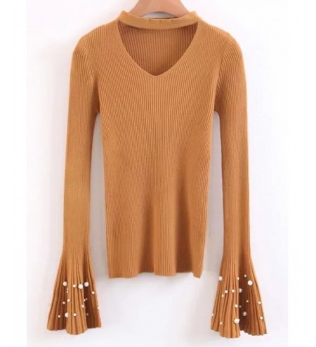 Choker Flare Sleeve Faux Pearl Sweater