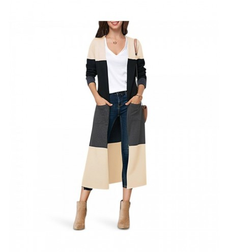 Collarless Long Sleeve Color Blocking Pocket Slit Open Front Women Cardigan