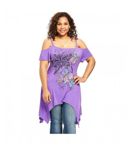 Plus Size Butterfly Floral Cold Shoulder Handkerchief T-shirt