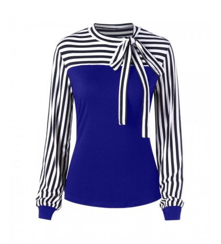 Striped Bowknot Long Sleeve Top