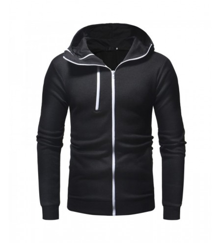 One and A Half Zipper Design Men'sCasual Slim Hooded Cardigan Sweater