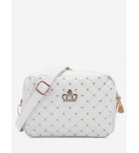 Quilted Rhinestone Crown Crossbody Bag