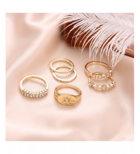 6 Pcs/Set Bohemian Crystal Stone Star Cross Style Rings Set Vintage Gold