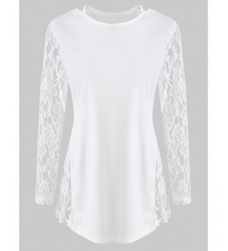 Cut Out Lace Panel T Shirt