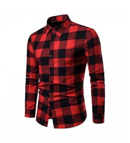 Fashion Slim Fit Lattice Turn Down Collar Long Sleeve Men Shirt