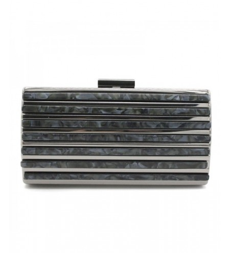 Acrylic Stripe Splice Evening Clutch Bag