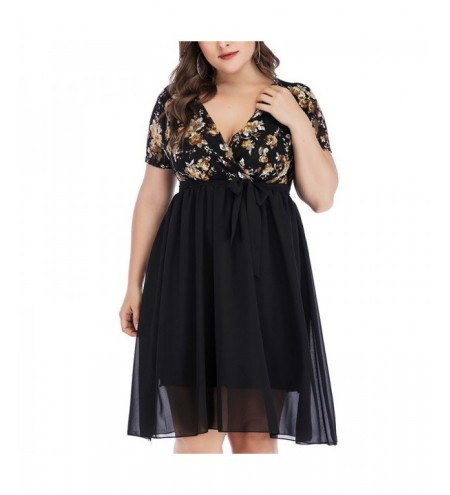 Splicing Printing Lace Chiffon Short Sleeve Dress