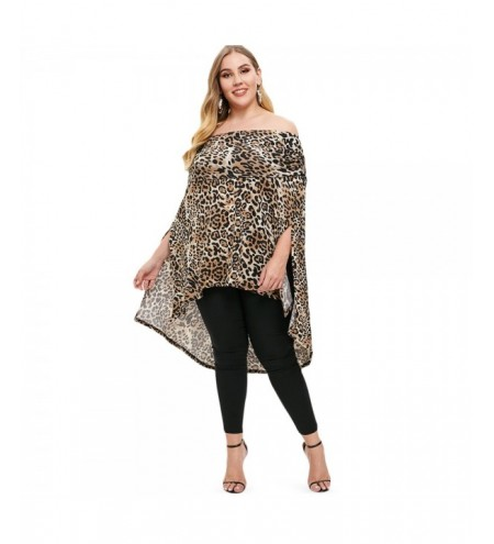 Plus Size Off The Shoulder Leopard Print Asymmetrical Top