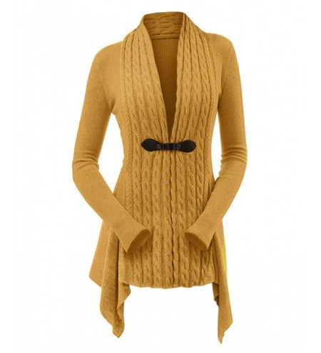 Cable Knit Buckle Asymmetrical Cardigan