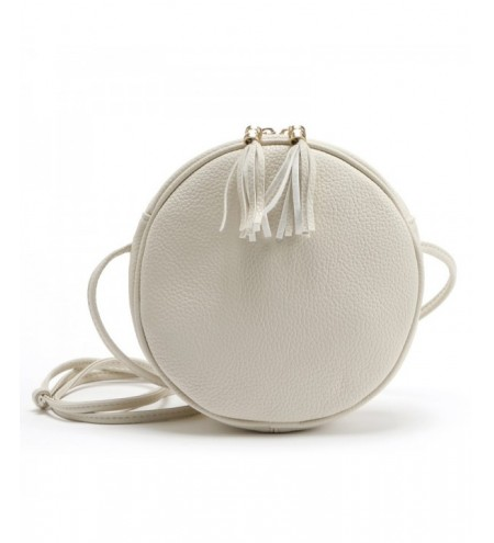 Candy Color Round Women Messenger Bag PU Leather Tassel Shoulder Bag