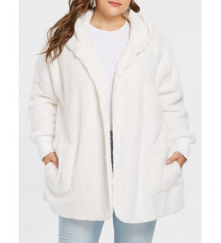 Collarless Plus Size Hooded Faux Fur Coat