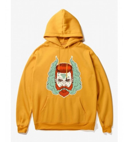 Cartoon Man Head With Smoke Print Fleece Hoodie