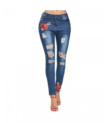 Slim Fit Destroyed Jeans with Embroidery