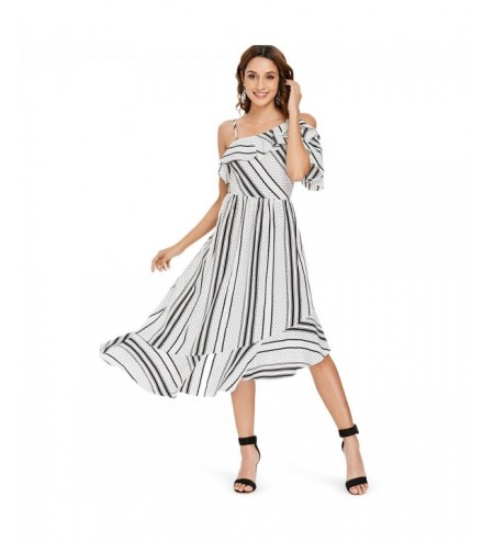 Stripe Dot Ruffle Asymmetric Midi Dress