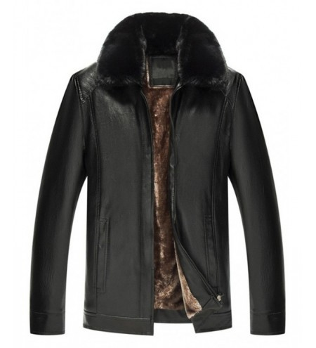 Zip Fly Fur Turn-down Collar PU Leather Jacket