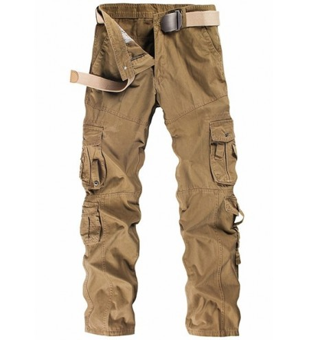 Casual Solid Color Multi-Pocket Straight Leg Zipper Fly Cargo Pants For Men