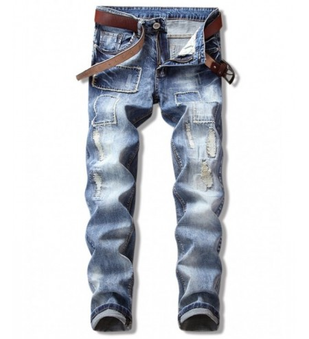 Patch Ripped Straight Leg Cuffed Jeans